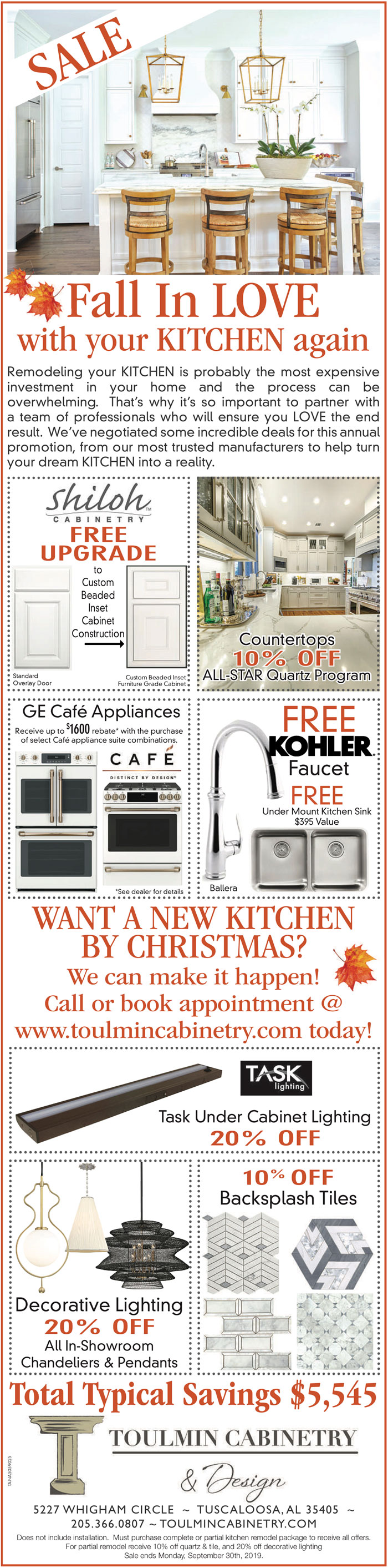 Fall In Love With Your Kitchen Sale - Toulmin Cabinetry & Design