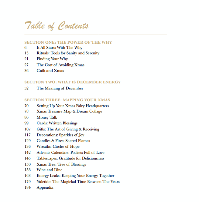 How-To Christmas Book Table of Contents