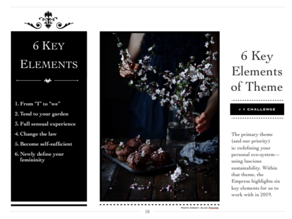 6 Key Elements+ 1 Challenge - Within the main theme there are 6 key elements the Empress asks us to work with this year.