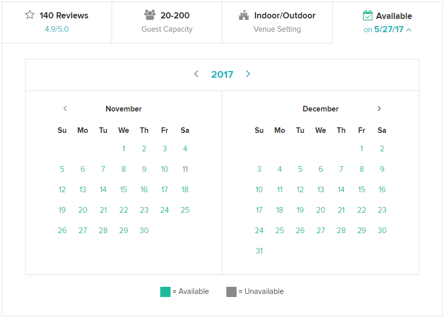 Detailed view of vendor availability offerings. This provides couples a quick view of a vendor's fit for their perfect wedding date.