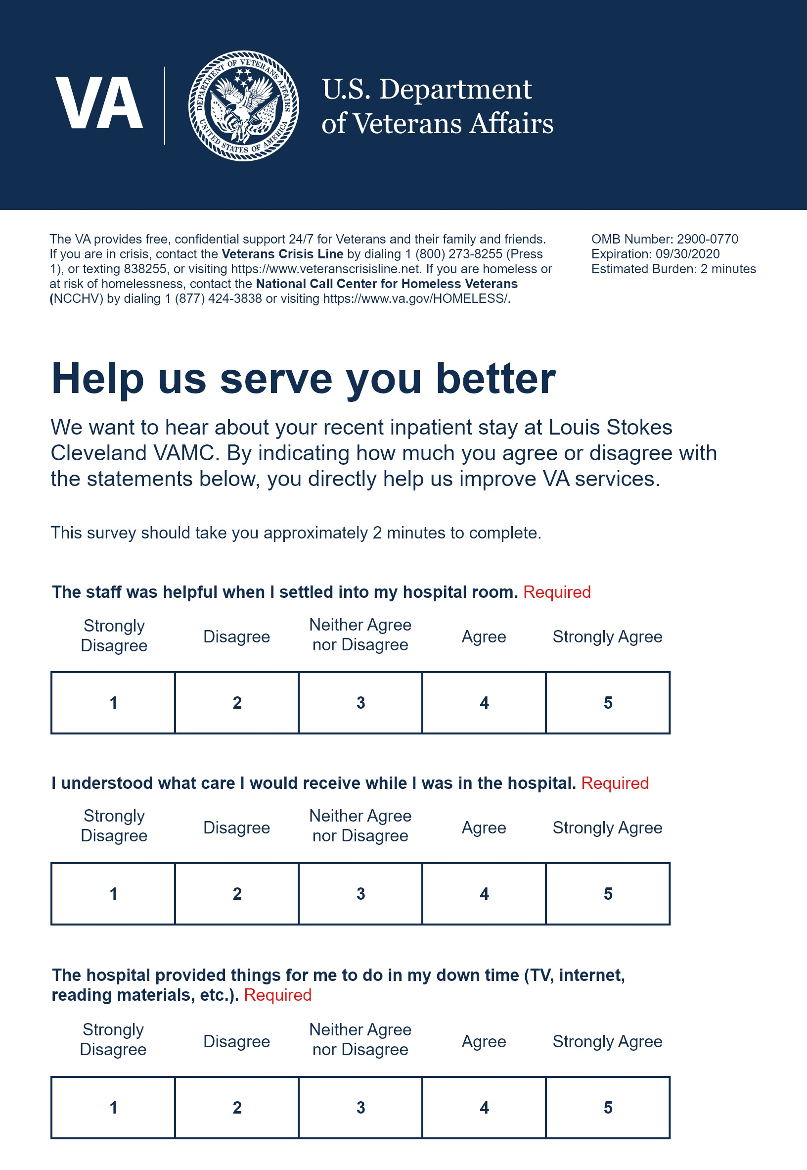 Example Veteran Experience Survey. Surveys are sent to the Veteran following their appointment via email.