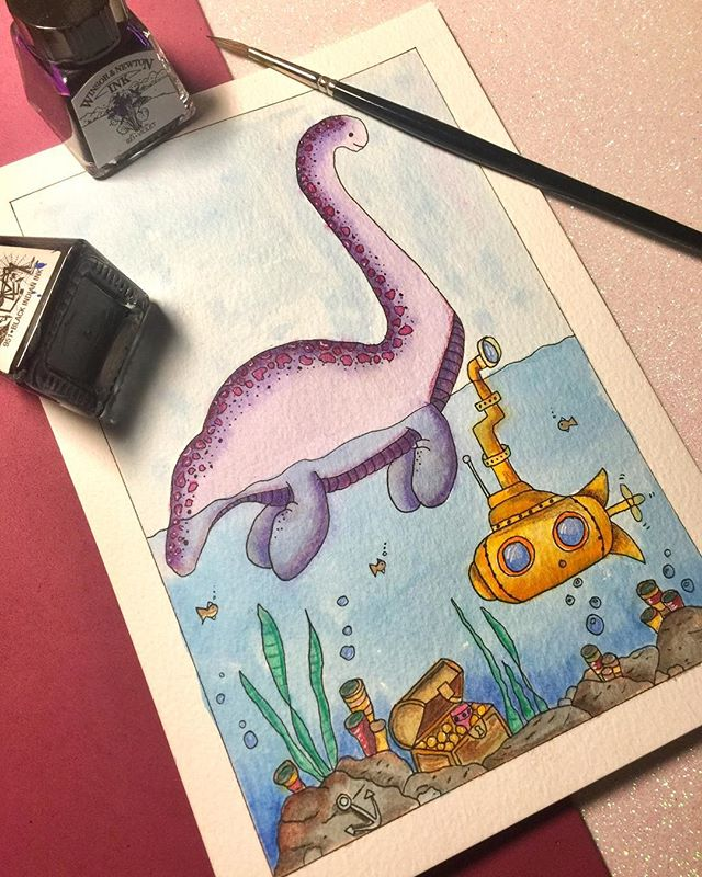 Day 1/31 Loch Ness Monster! #inktober #art #akbinktober #illustration #drawing #artistsoninstagram #inktober18 #loch #lochnessmonster #lochness #creature #mythology #myth #creatureart #ink #inkwork #penandink #painting #kerrylouisearts #freelance #day1