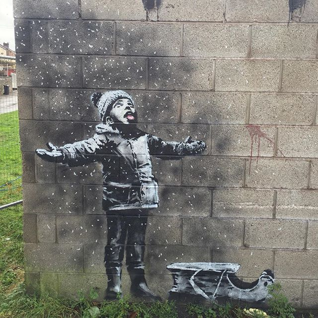 Went to see the Banksy in Taibach, port Talbot. #banksy #art #streetart #porttalbot #graffitiart #graffiti #artist #wales