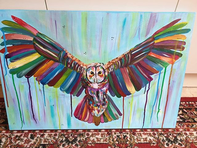 Have not posted for a while, I have had a few struggles recently, but thought I would show the last acrylic painting that I did :) #artist #owl #owlpainting #nature #colourfull #art #painting #kerrylouisearts #illustrator #freelance #fly #bird #birdtattoo #owlsofinstagram #birdsinflight