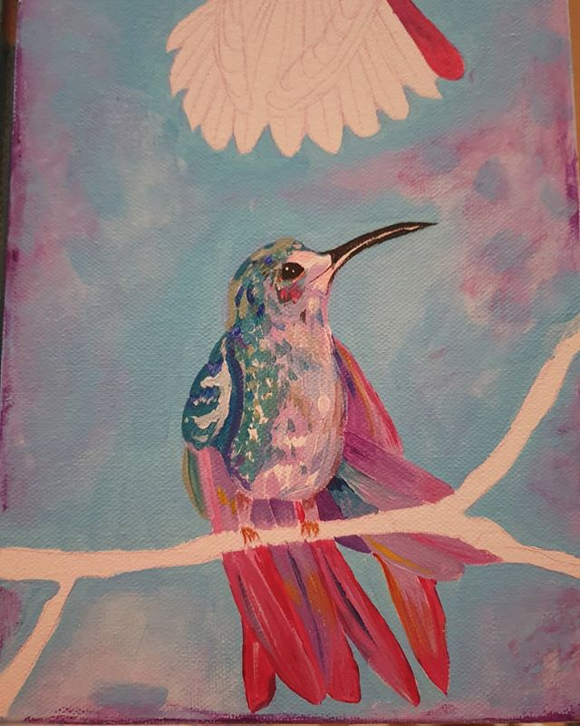 The light is getting bad now and I have not set up my art lamp next to my desk yet ! So will have to stop here tonight ! But made a start. . . . #art #artinwales #welshillustrators #welshartist #porttalbotart #hummingbird #acrylicpainting #kerryhussey #kerrylouisearts #nature #birds #natureartists #homestudio #colourfull #bright #freelance #freelanceartists #freelanceillustrators