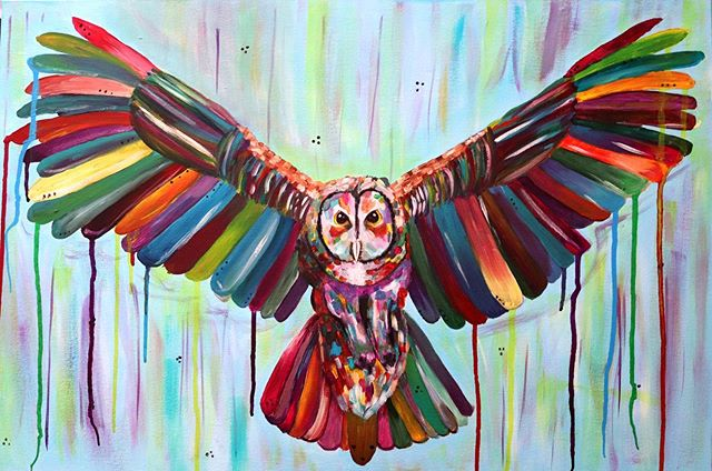 An owl painting 🦉. This one a completed a month or so or go but only getting around to putting up photos now. It was created with acrylic and liquid acrylic on a canvas.  #illustration #artistsoninstagram #acrylicpainting #owl #owlart #owlsofinstagram #nature #mythology #botanicalart #color #colurfull #kerrylouisearts #freelance #splash #abstractart #bright #happy