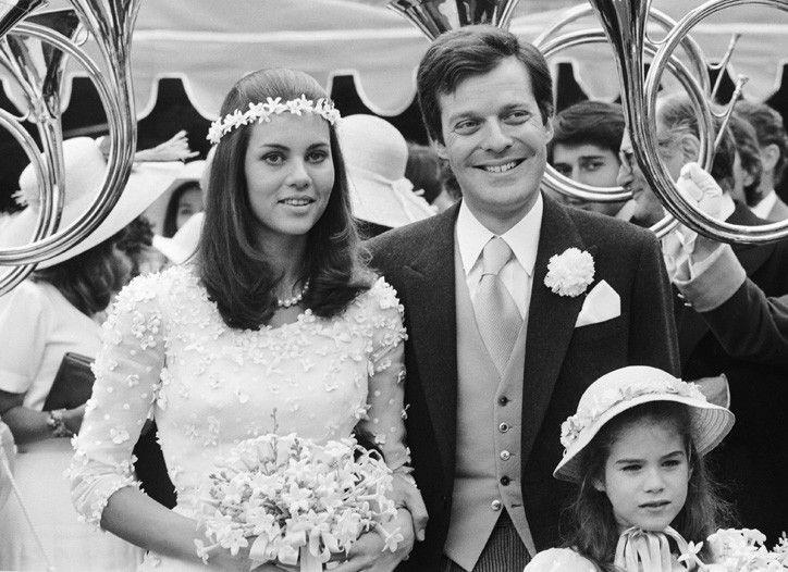 Olimpia Borghese Aldobrandini (left) and Baron David Rothschild (right) at their wedding