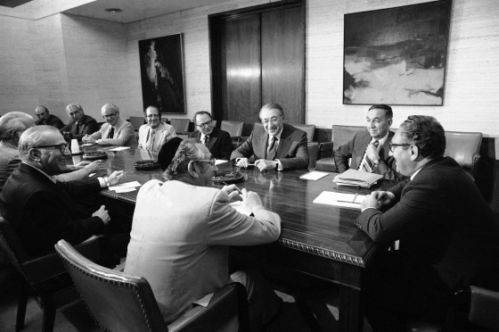 Max Fisher, center, and Henry Kissinger, right, meet with leaders of Jewish organizations prior to Kissinger's 1975 Middle East trip. Henry Burroughs