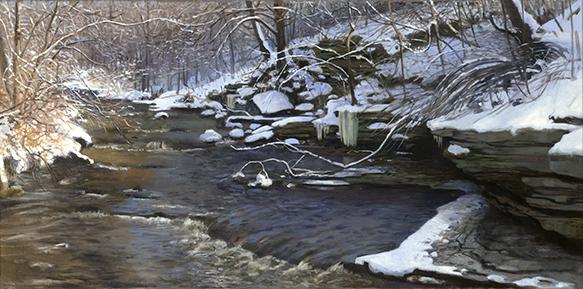 """Waubonsie Creek Oswego Dec 12  12x24""""  2016"""