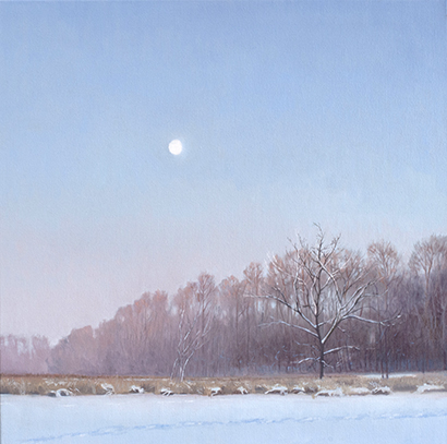 "Feb 18 Lincoln Marsh Moon Set 20x20"" 2014 (sold)"