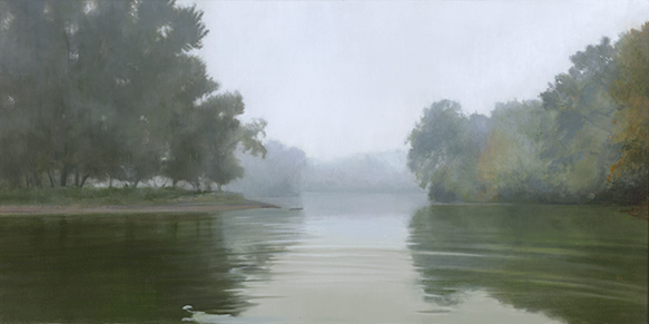 "Fog Below West Dundee  15x30"" 2017 (sold)"
