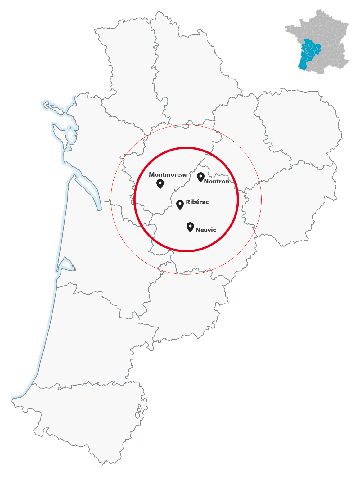 We have  4 offices  located in the heart of the Nouvelle-Aquitaine region.