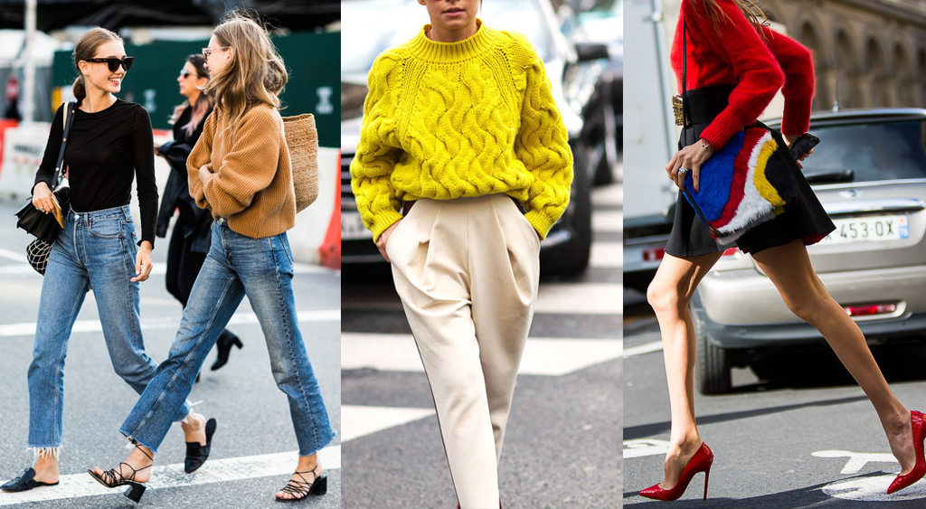 Colorful sweaters of varying styles and weights