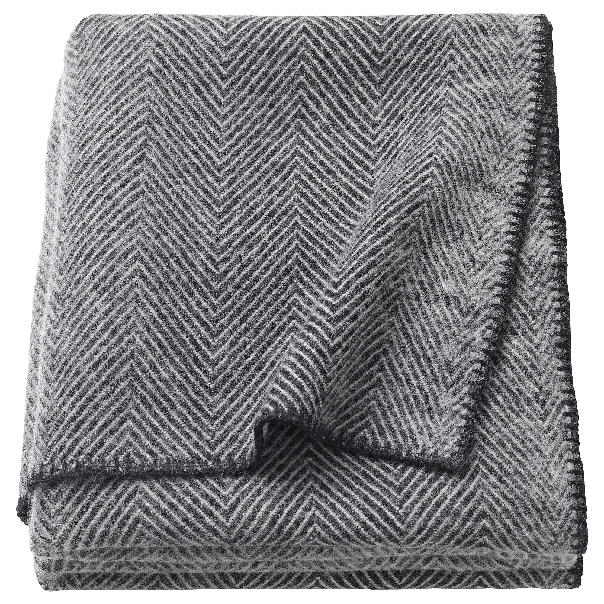 Strimlönn throw - Gray Harringbone, 59 x 79