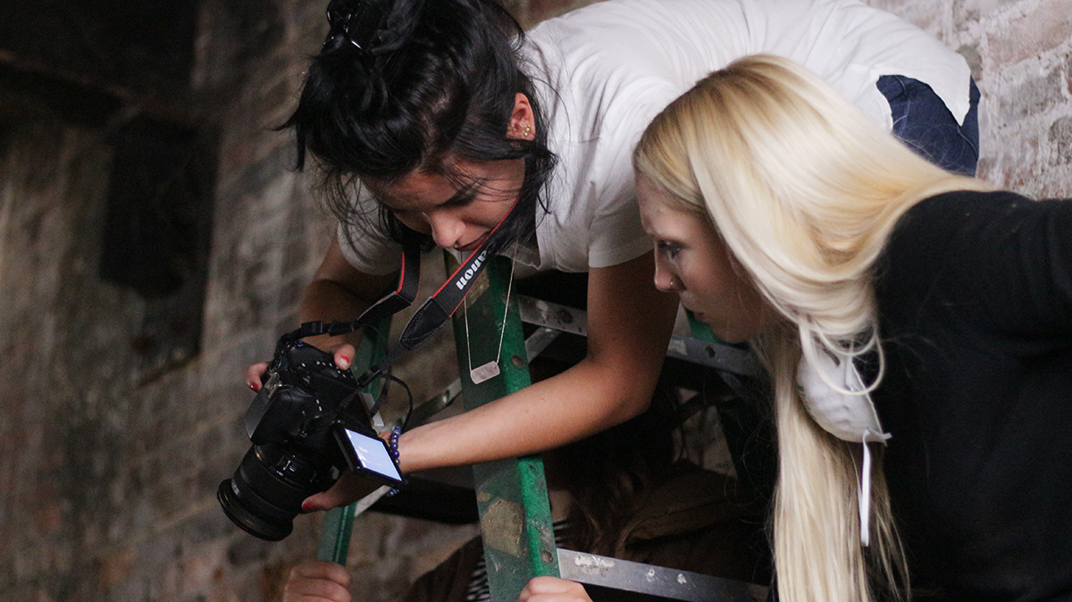 Devin Marie Munoz and Emily Durand on the set of Subterrane