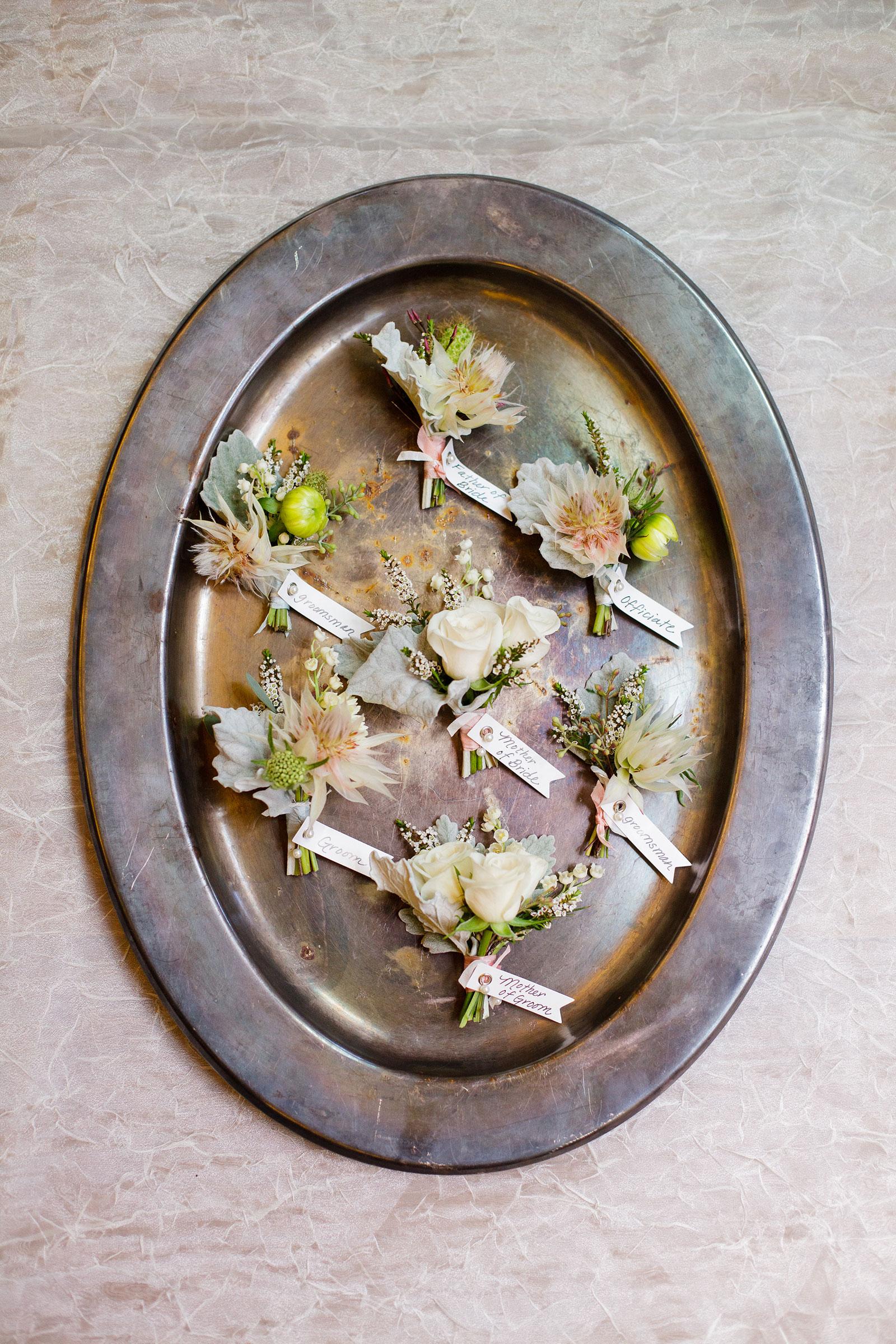 Pastel Boutonierres Calistoga Ranch Wedding Flowers