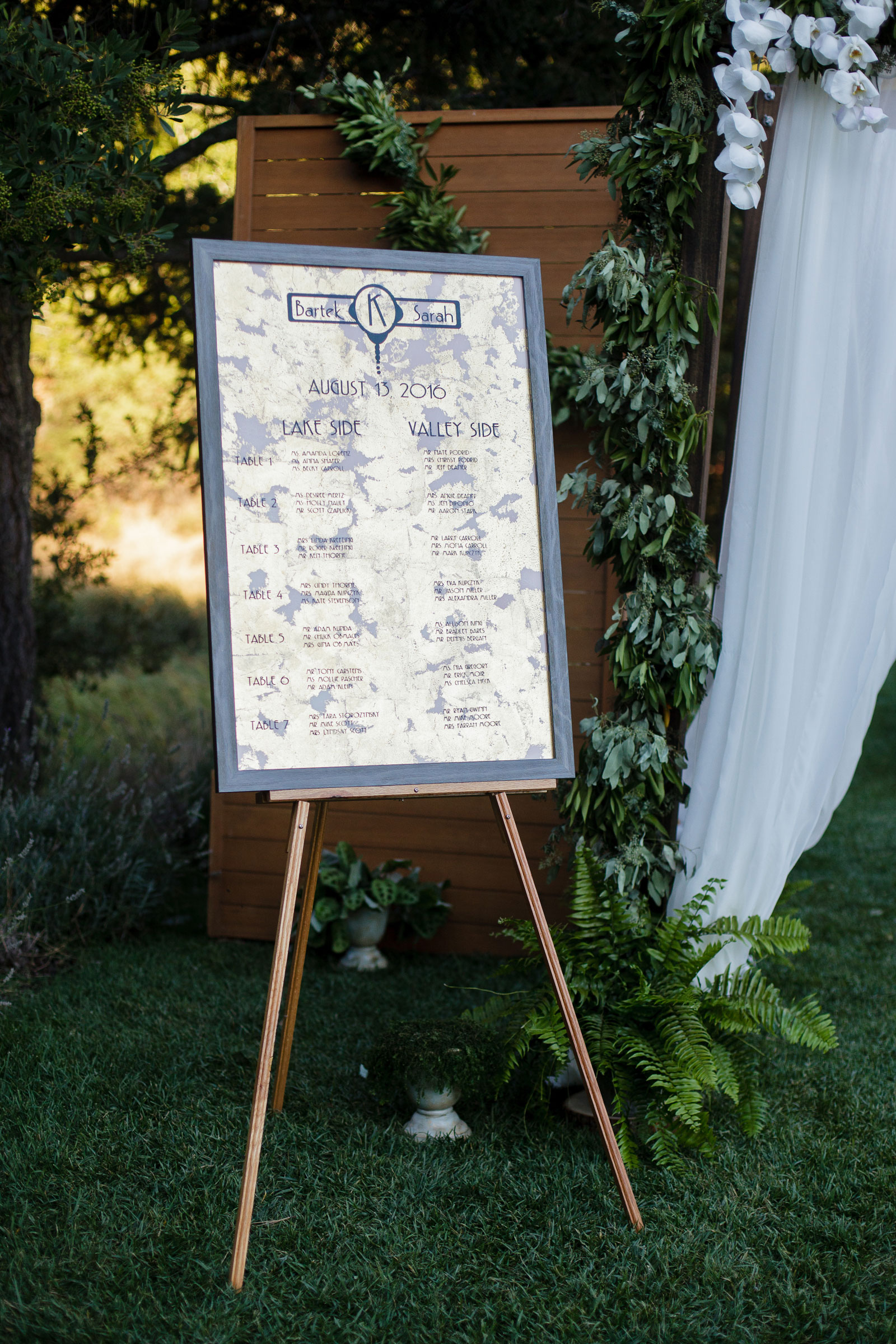 Art Deco Wedding Sign Seating Chart Napa Calistoga