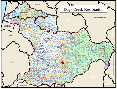 Days Creek Map
