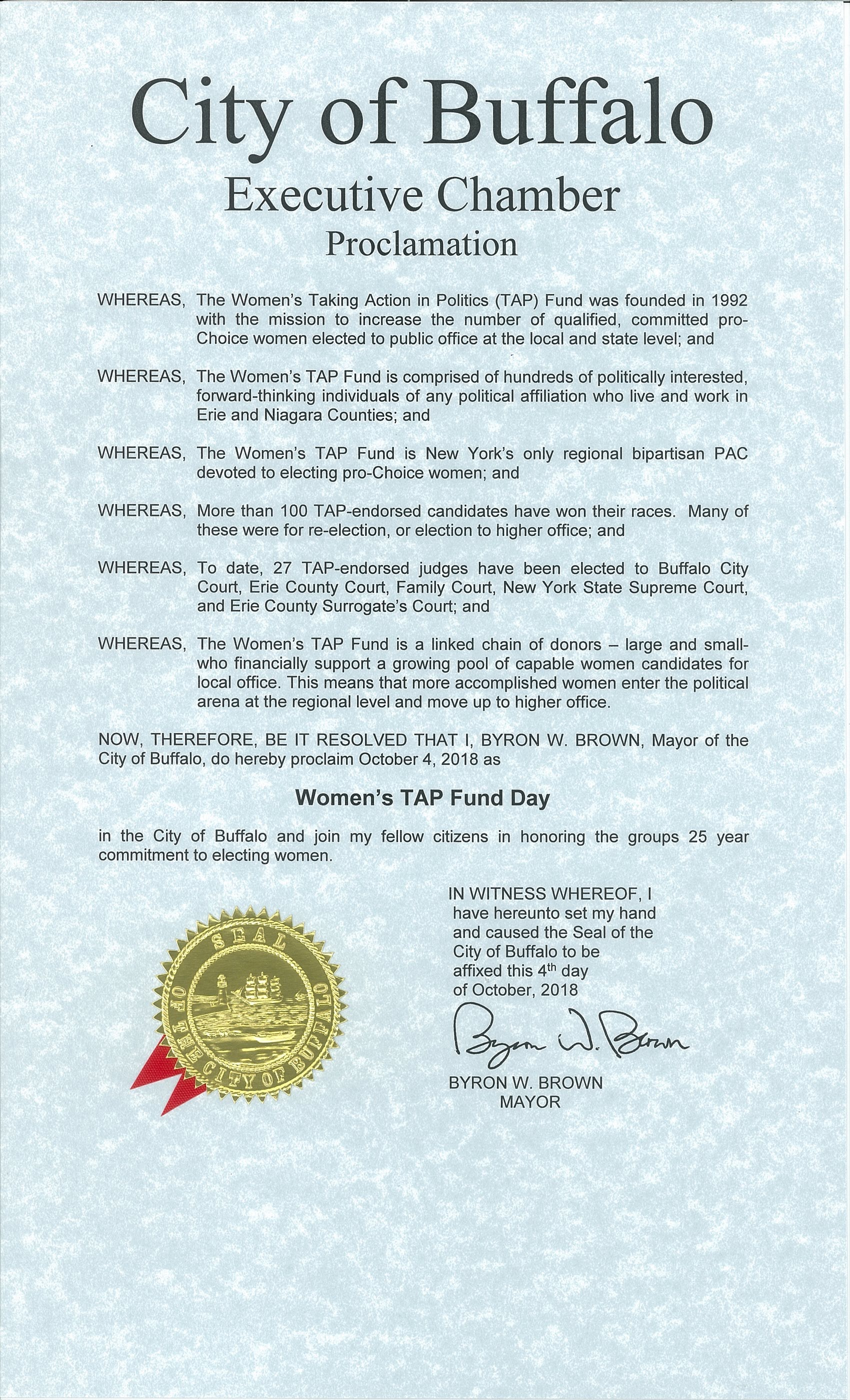 Womens-tap-fund-day-proclamation
