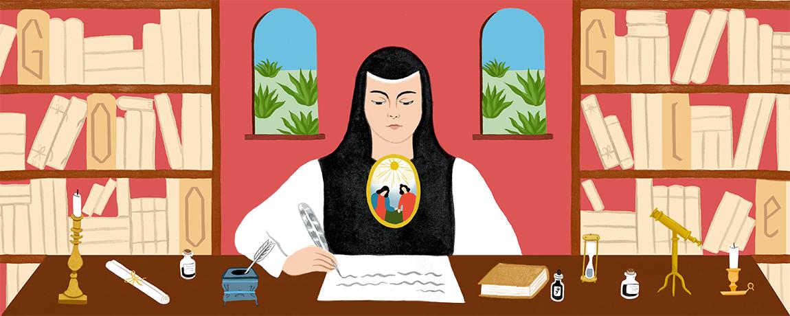 Google Doodle para Sor Juana Inés de la Cruz por su 366 aniversario.