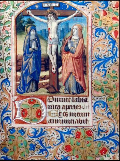 Crucifixión . Anónimo. Libro de horas . Francia, ca. 1475-1515. Vitela, becerro. 169 x 118x 43 mm. 146 páginas. Colección: Libros y Documentos.
