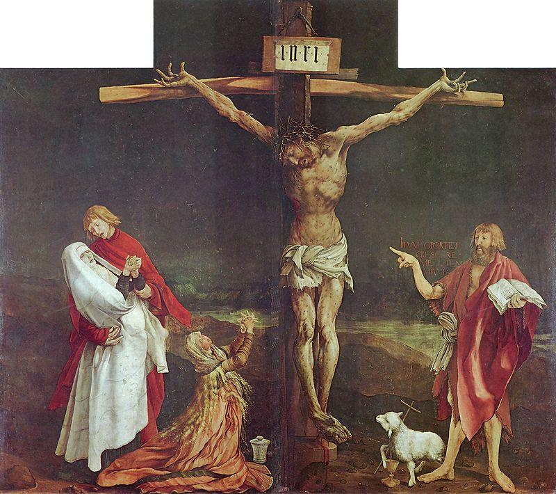 La crucifixión (Tabla central del Retablo de Isenheim) Matthias Grünewald, 1512 - Pintura al temple y  óleo sobre tabla Museo de Unterlinden, Colmar , Francia