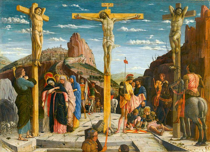Crucifixión Andrea Mantegna Temple sobre madera Museo The Louvre