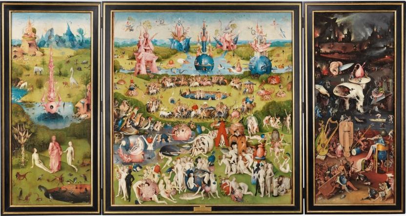 El Bosco:  El jardín de las delicias  (tríptico abierto). Óleo sobre madera de roble. Medidas totales: 220 x 389 cm. Foto: Museo Del Prado