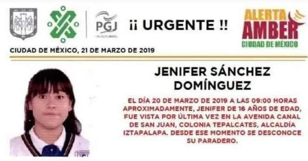 Alerta Ámber de Jénifer Sánchez Dominguez / Foto vía Paola Rojas