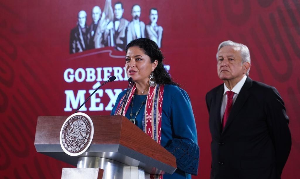 Alejandra Frausto, secretaria de Cultura, durante el anuncio en conjunto del gobierno federal para la revitalización del Bosque de Chapultepec. Foto: Cortesía de la Secretaría de Cultura