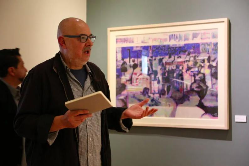 El pintor José Castro Leñero durante la inauguración de la exposición. Foto: FIC