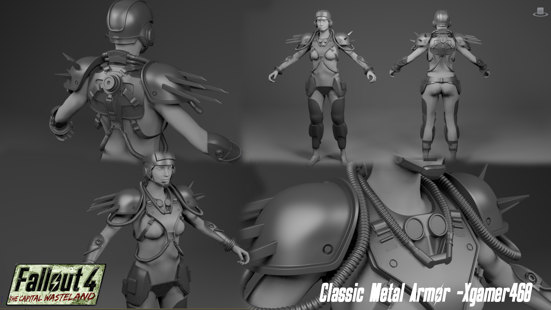 XGamer is still dilligently chipping away at the fine details for the FO3 Metal Armor set.