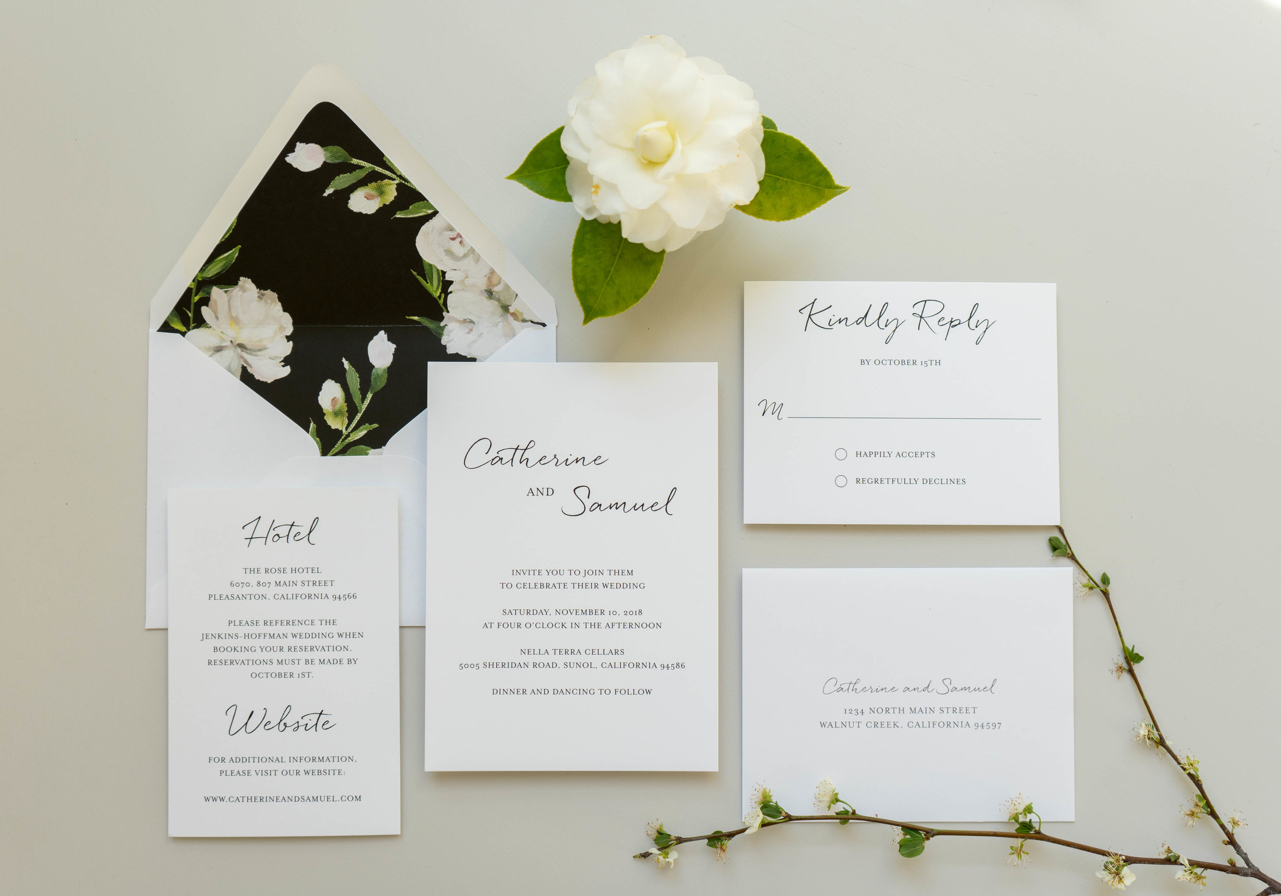 Black and White Floral Wedding Invitation by Just Jurf