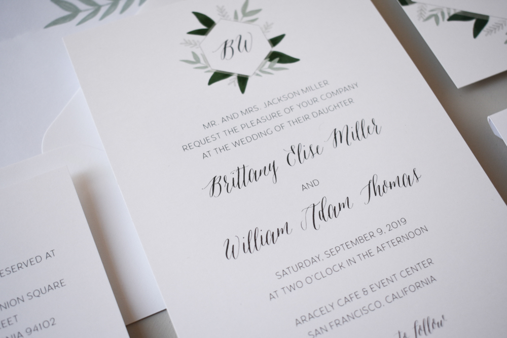 Romantic Green Leaf Wedding Invitation by Just Jurf