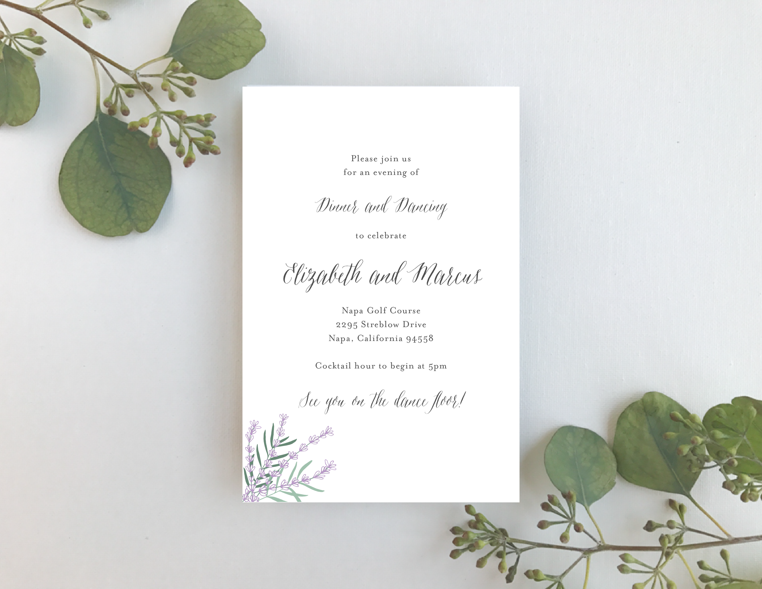 Lavender Floral Wedding Invitation by Just Jurf