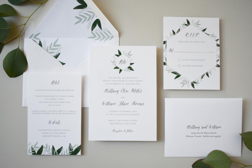 *1163 Romantic Green Leaf Monogram Invitation by Just Jurf 4.jpg