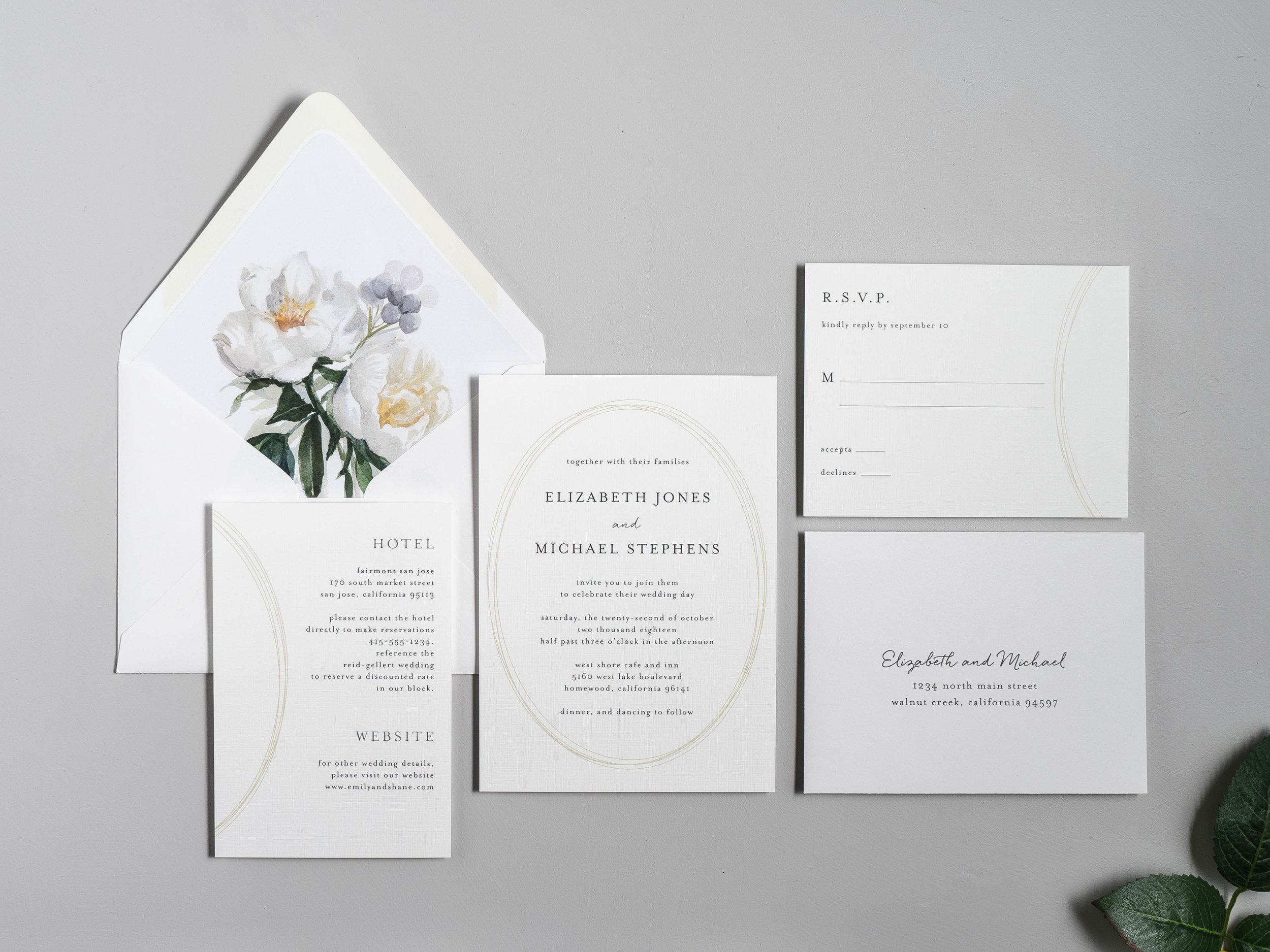 Modern Oval and White Peony Wedding Invitation by Just Jurf-1.jpg