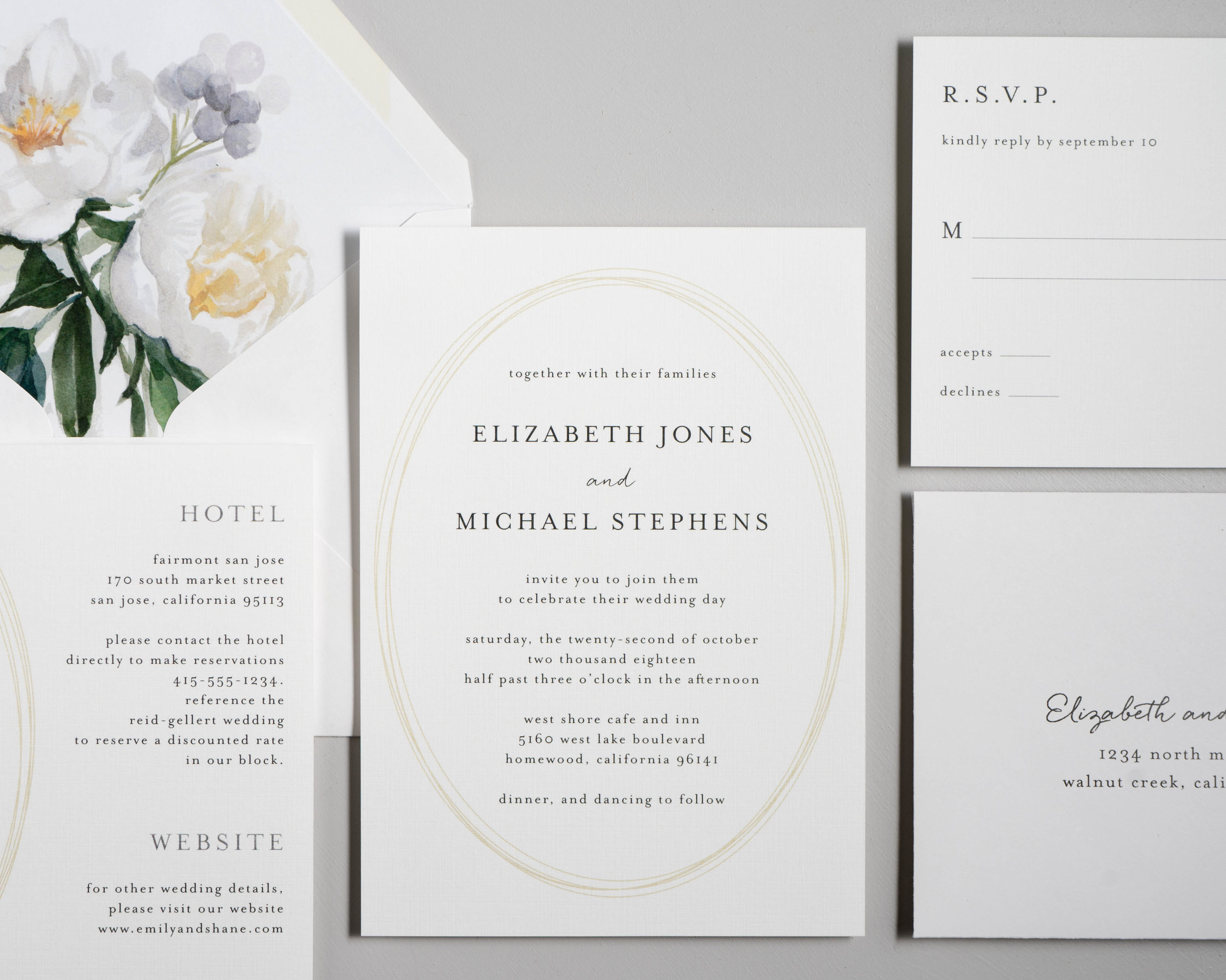 Modern Oval and White Peony Wedding Invitation by Just Jurf-3.jpg