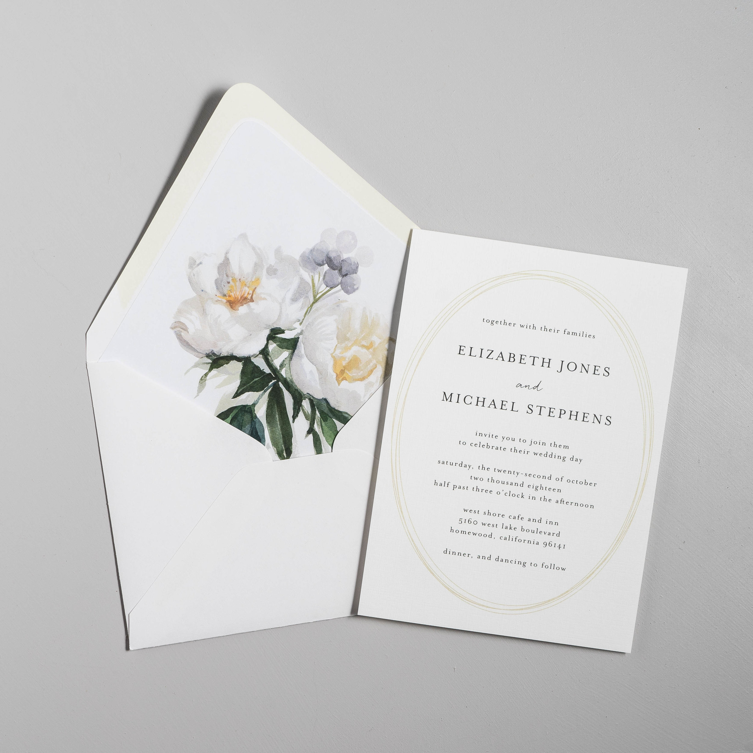 Modern Oval and White Peony Wedding Invitation by Just Jurf-6.jpg