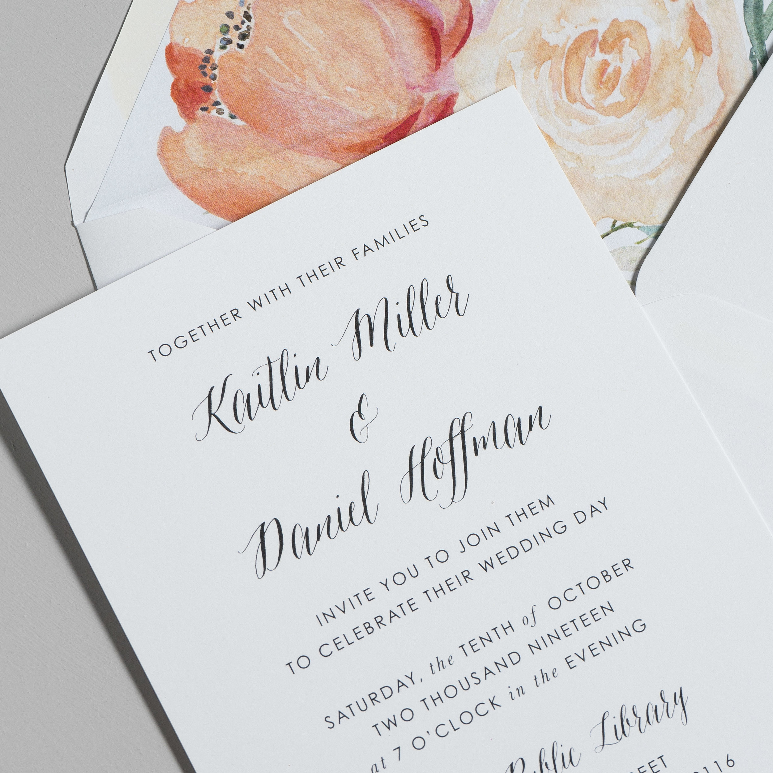 Modern Peach Watercolor Floral Wedding Invitations by Just Jurf-8b.jpg