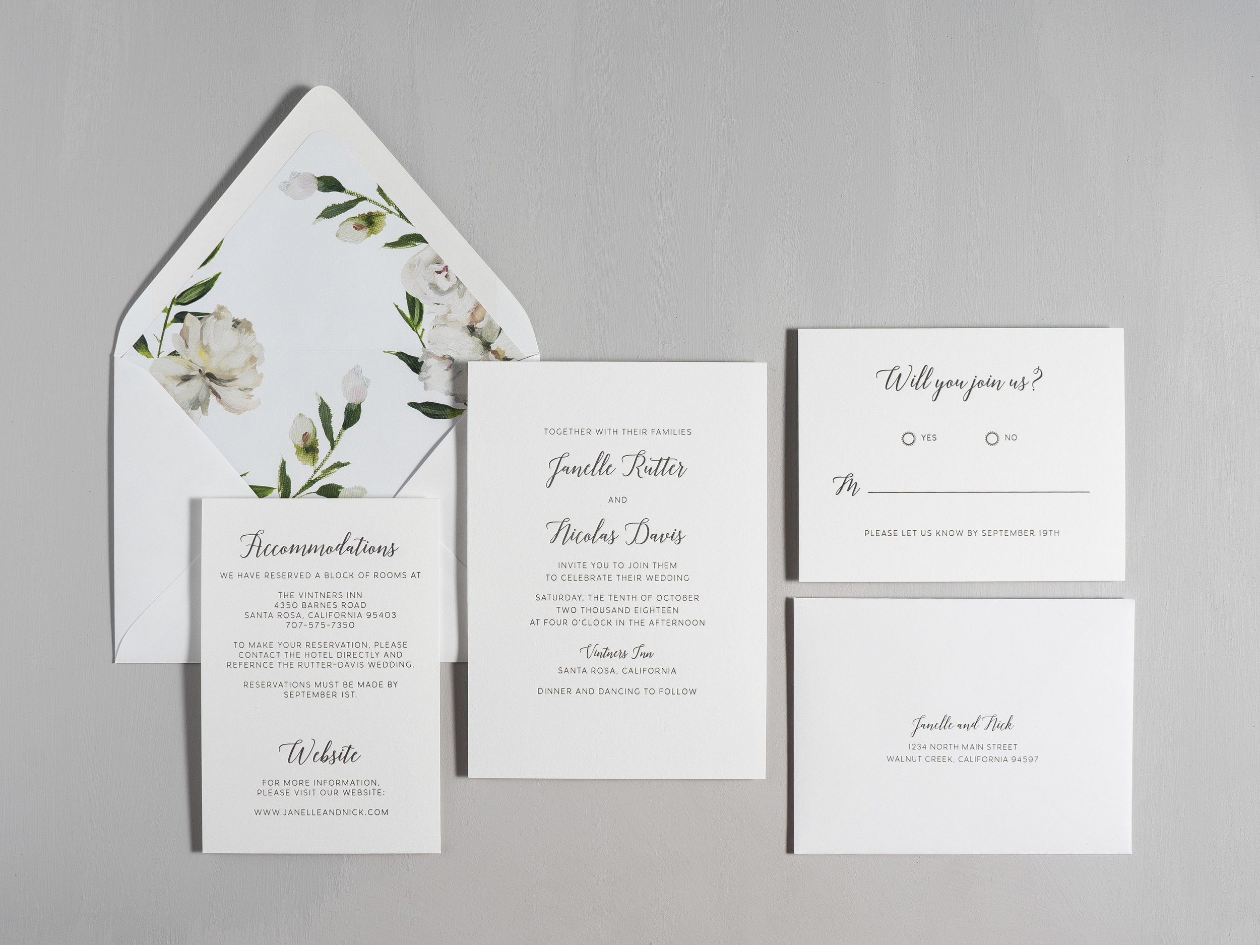 Simple Script V2 Letterpress Wedding Invitations by Just Jurf-1.jpg