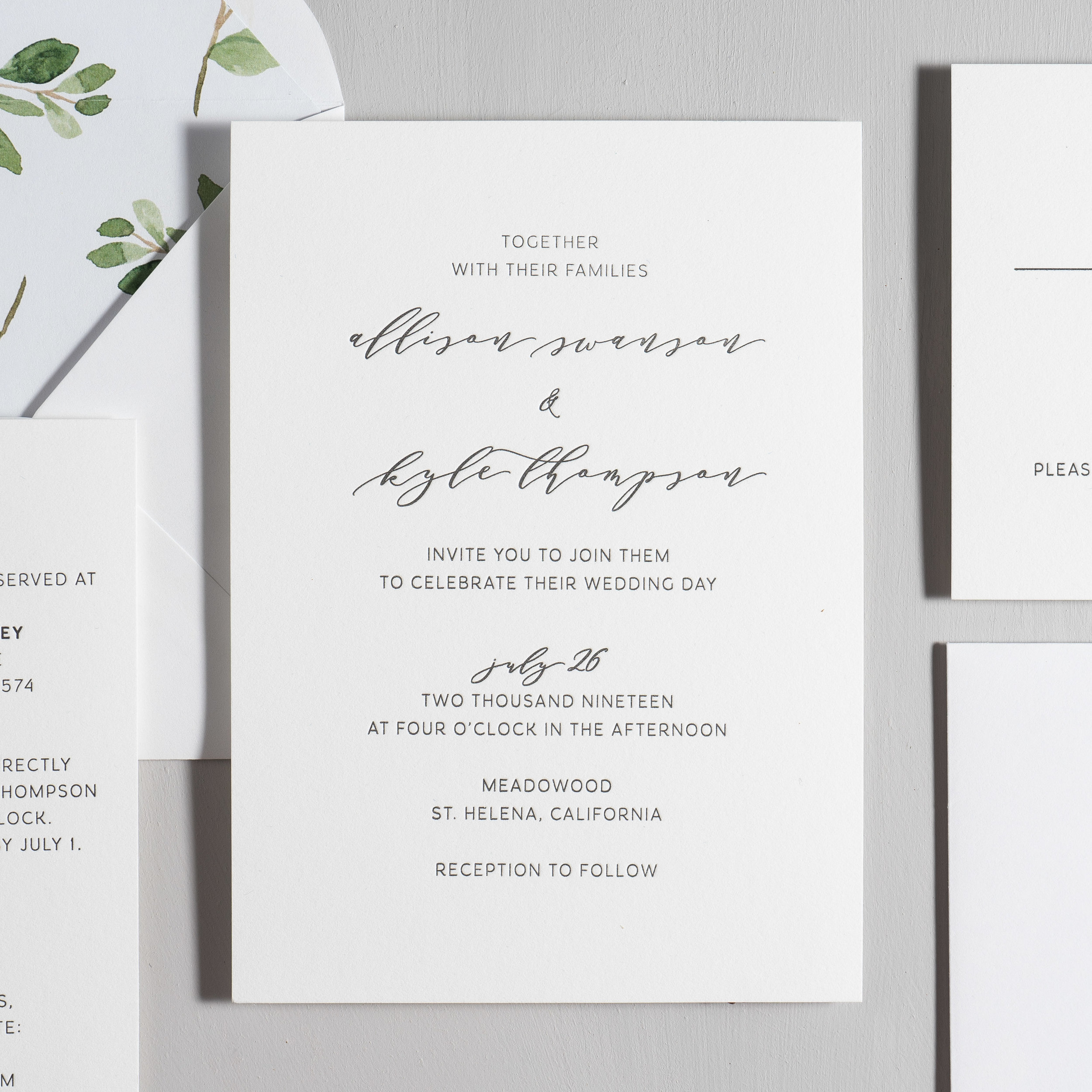 Modern Greenery V2 Letterpress Wedding Invitation