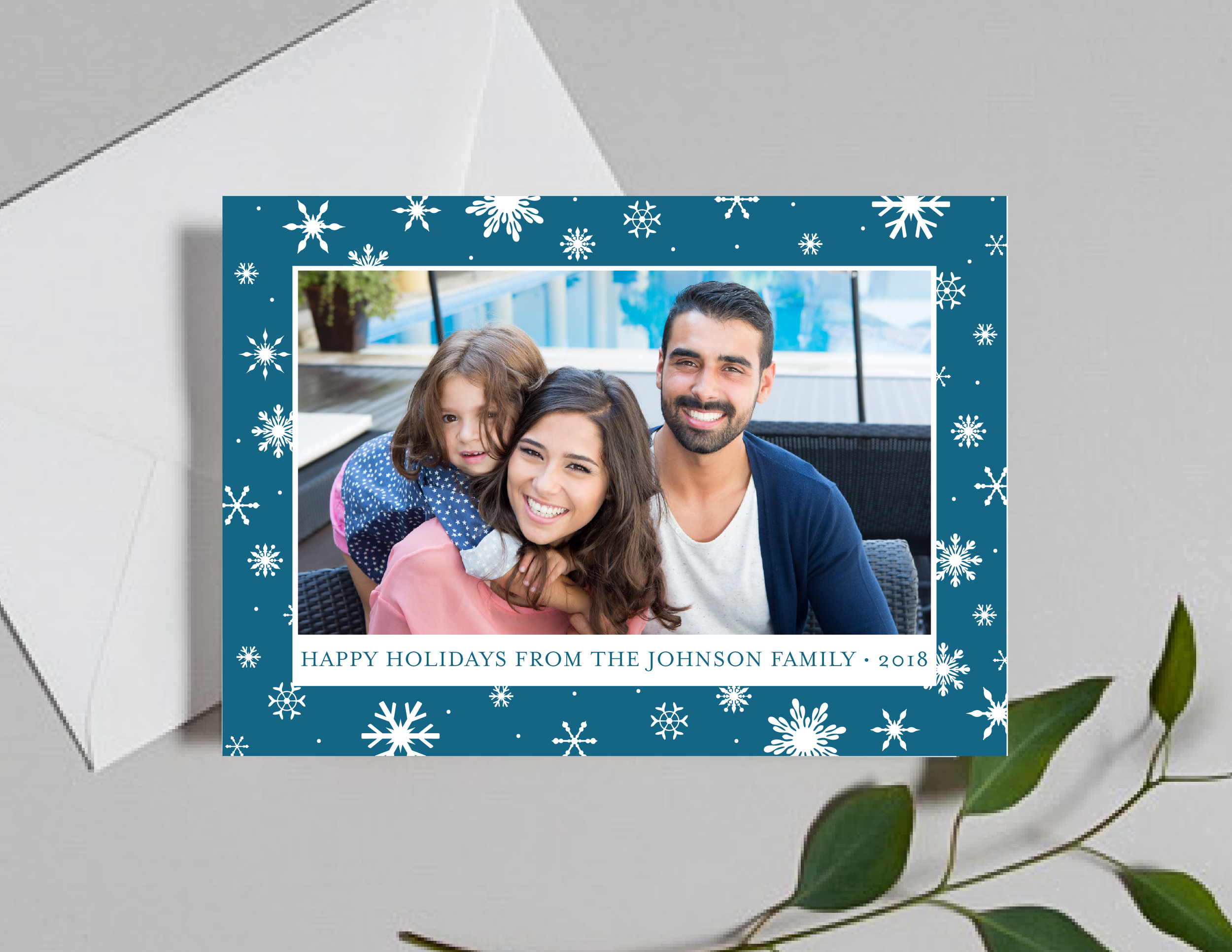 Snowflake Holidays Photo Holiday Card