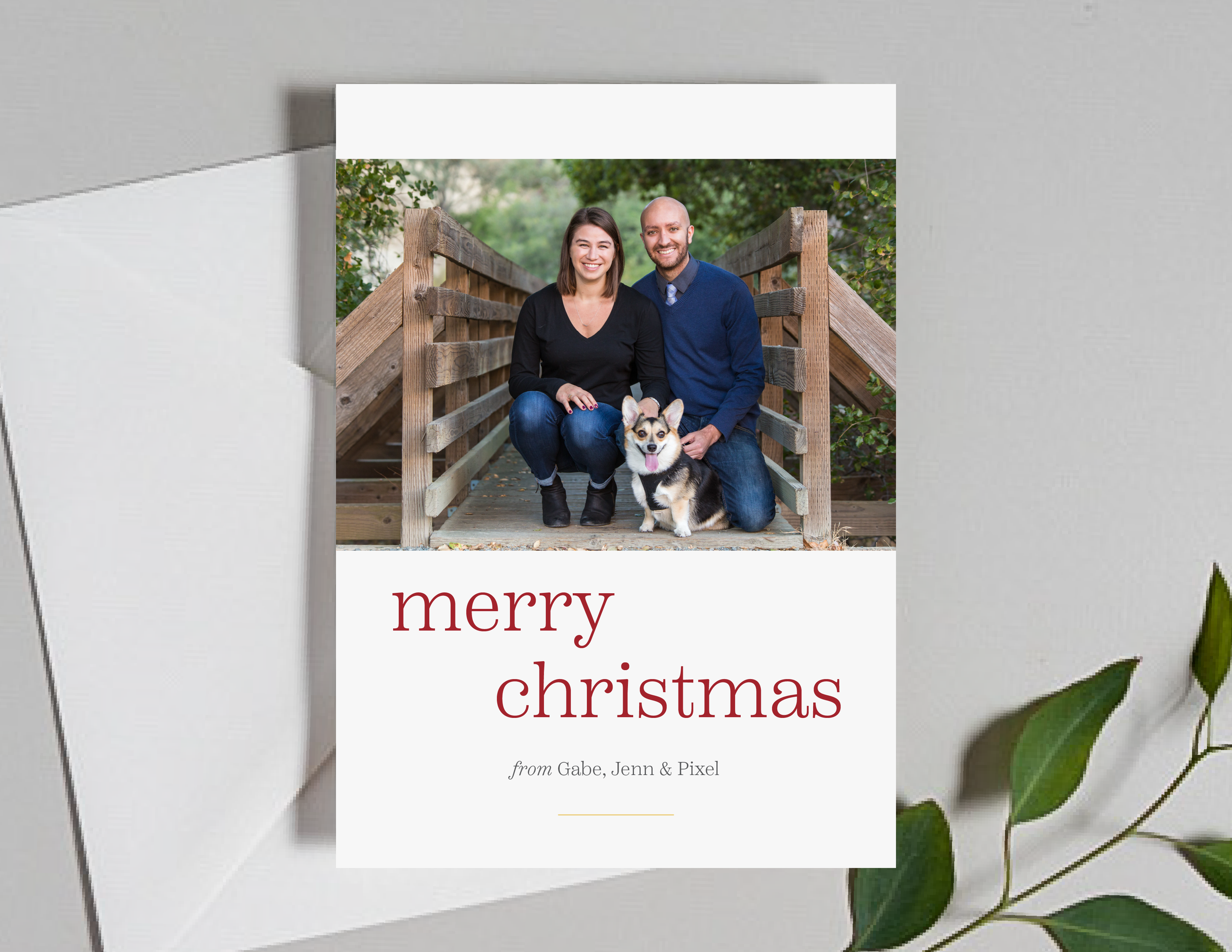 Modern Merry Photo Holiday Card