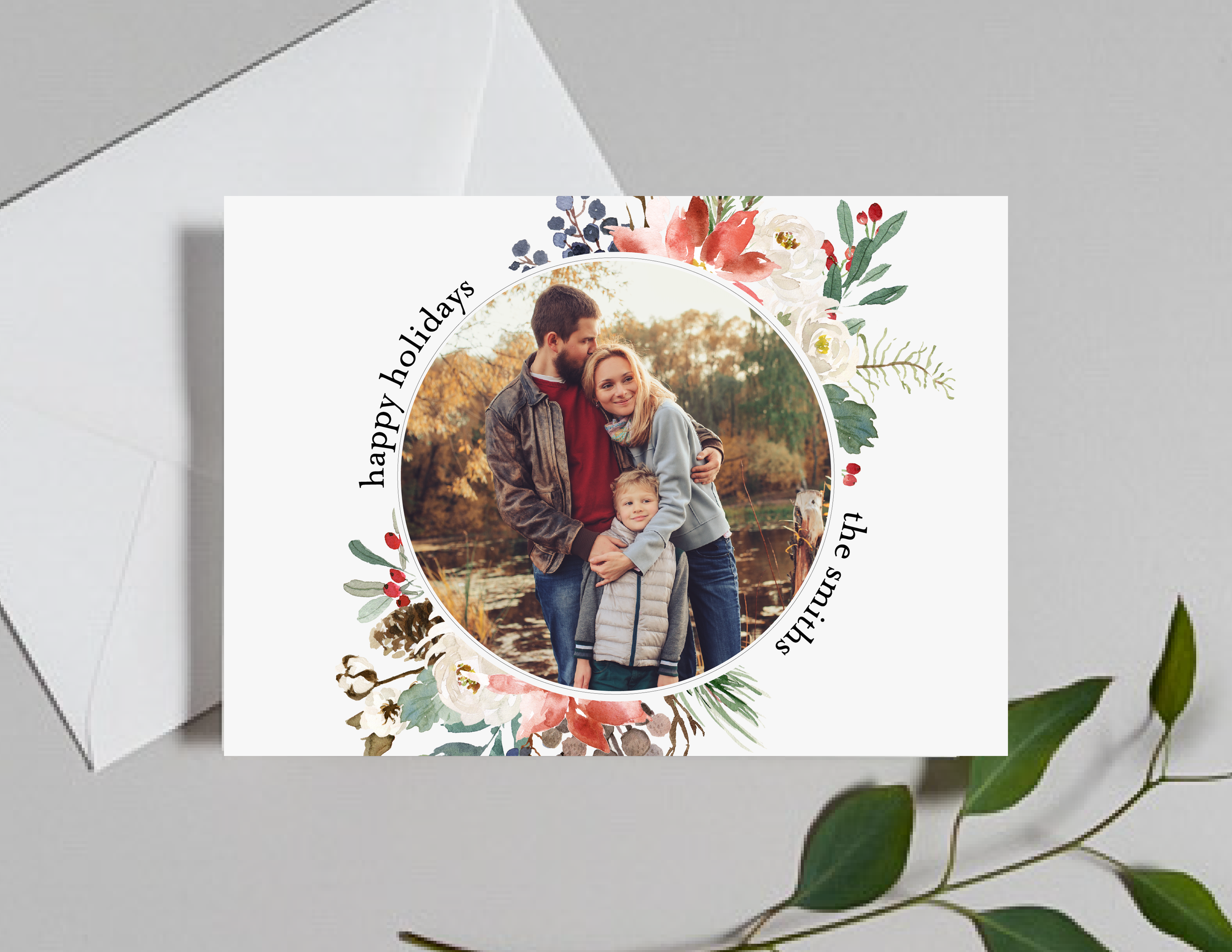 Holiday Florals Photo Holiday Card