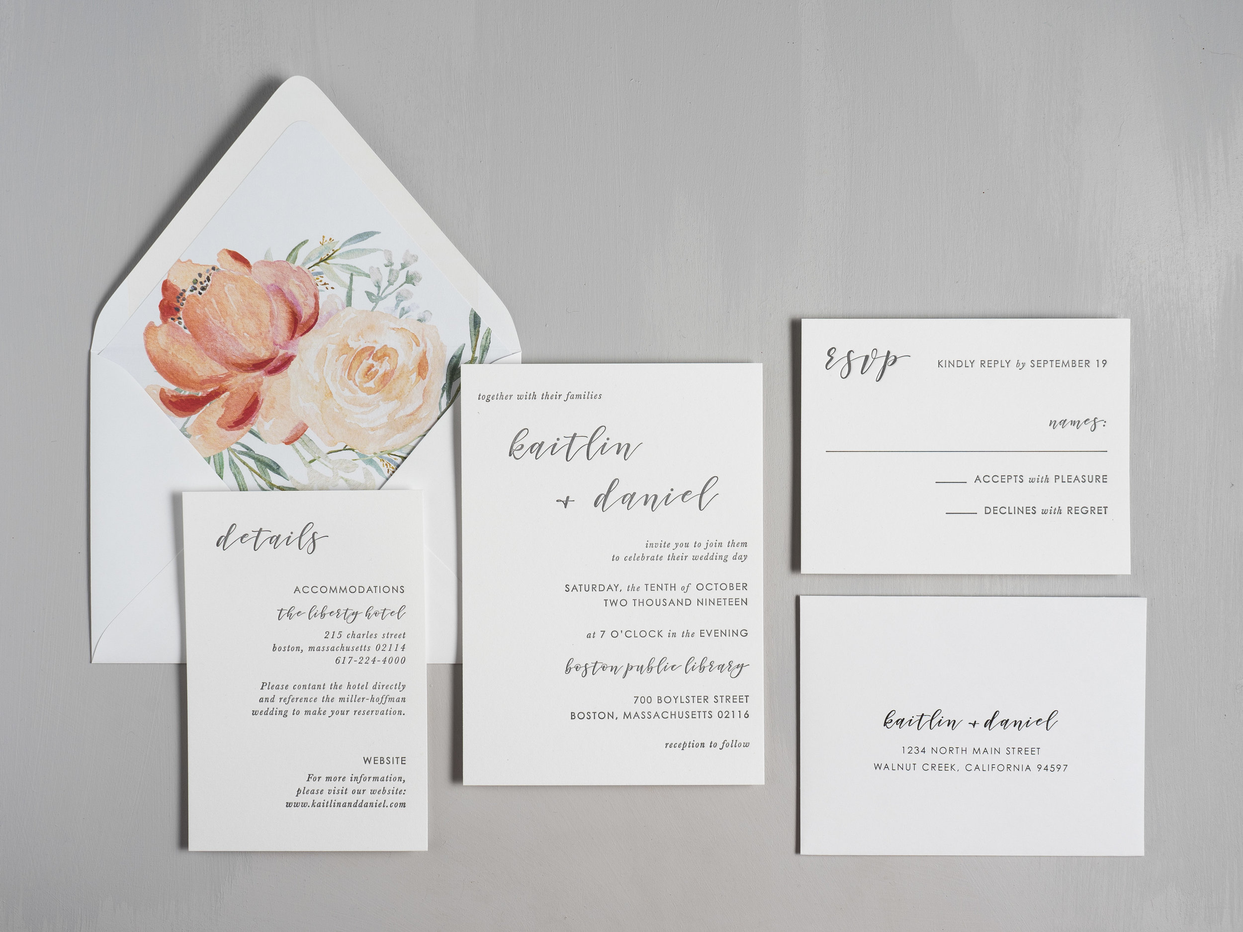Simple Modern Script V2 Letterpress Wedding Invitation by Just Jurf