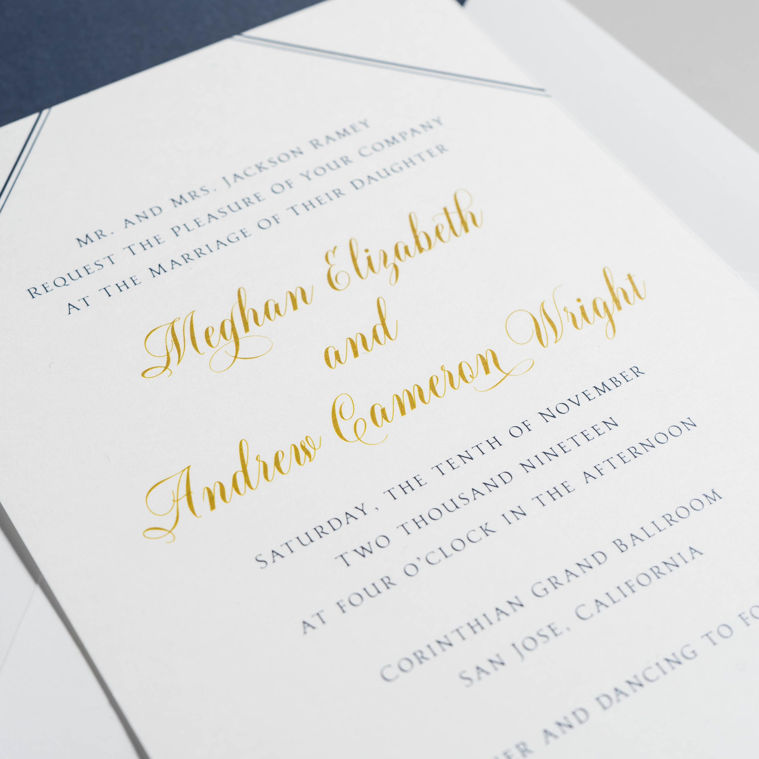 Classic Gold and Navy Wedding Invitation