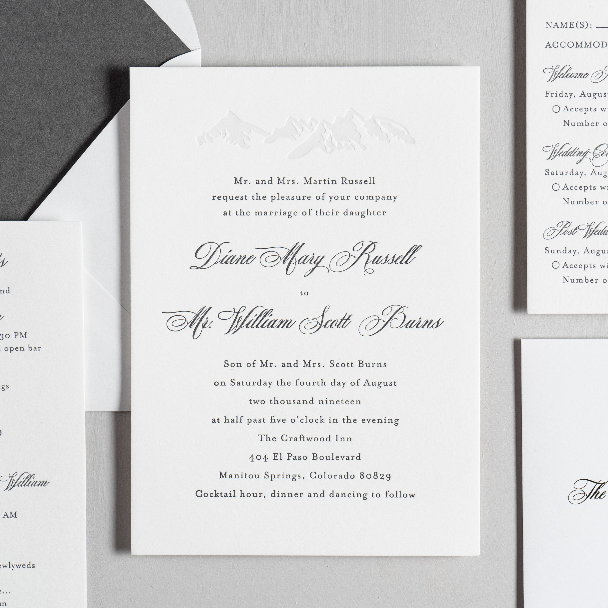 Classic Mountain Letterpress Wedding Invitation Suite by Just Jurf