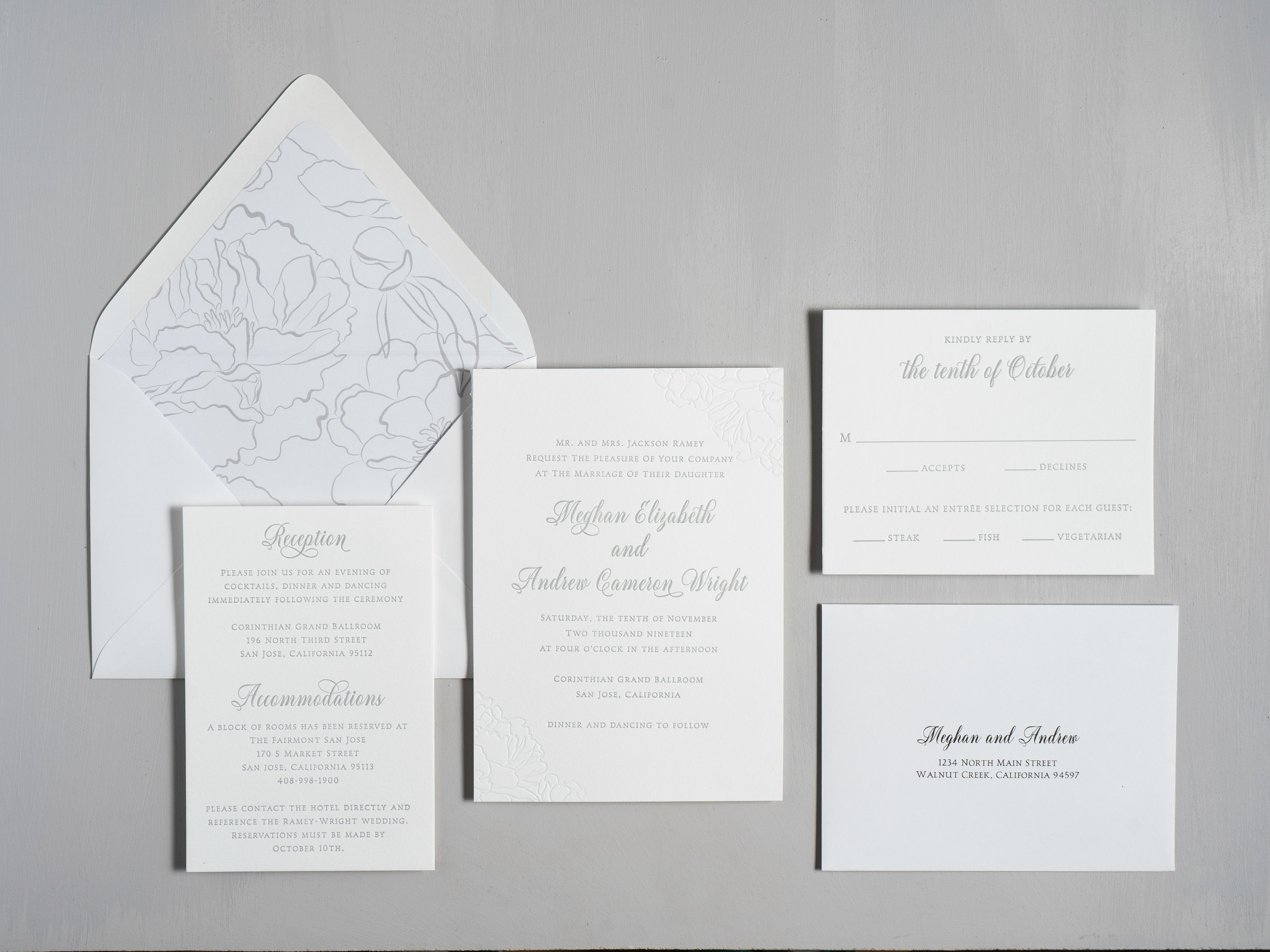 Simple Elegant Floral Letterpress Wedding Invitation Suite