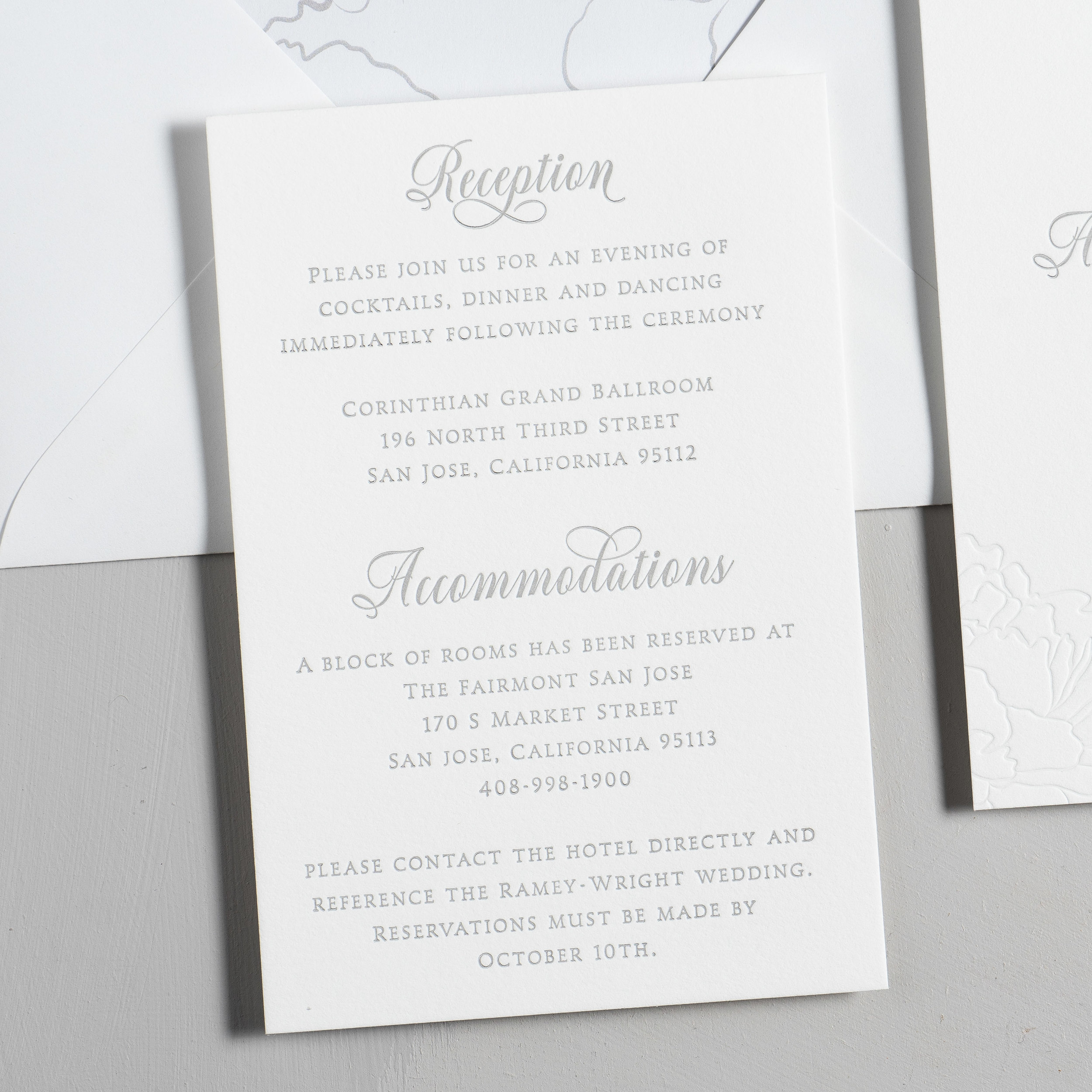 Simple Elegant Floral Letterpress Wedding Invitation Suite by Just Jurf